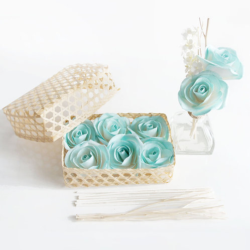 DIY Set of 6 Turquoise Roses Mulberry Paper  Diffuser.