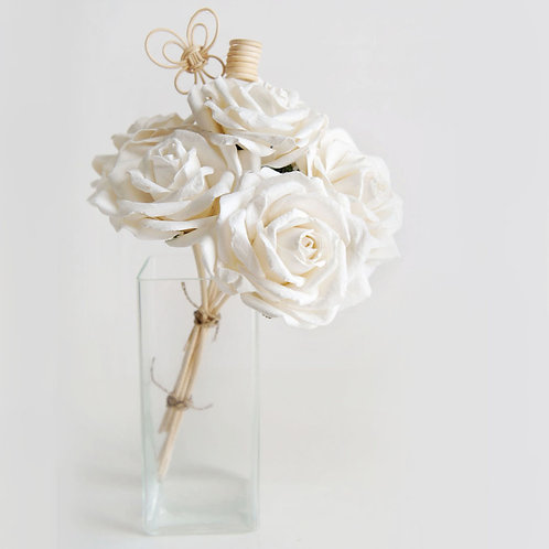 White Large Rose Mulberry Paper Home  Fragrance  Diffuser Bouquet.
