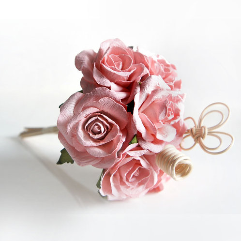 Peach Rose Mulberry Paper  Diffuser Bouquet.(Set of 7 roses)