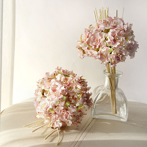 Pink Hydrangea Bundle Mulberry Paper Flower with Reed Diffuser B
