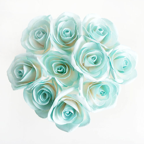 Set of 10 Turquoise Roses Mulberry Paper  Diffuser .(2 s