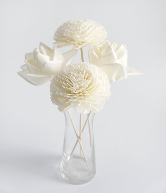 "Set of 4 DIY  3""  Lotus and Jasmine Sola Flower for Home fragrance Diffuser."