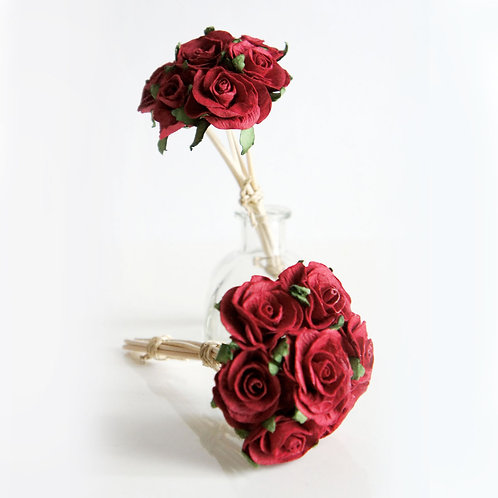 2 Set of  Mini Red Roses Mulberry Paper Home  Fragrance  Diffuser Bouquet