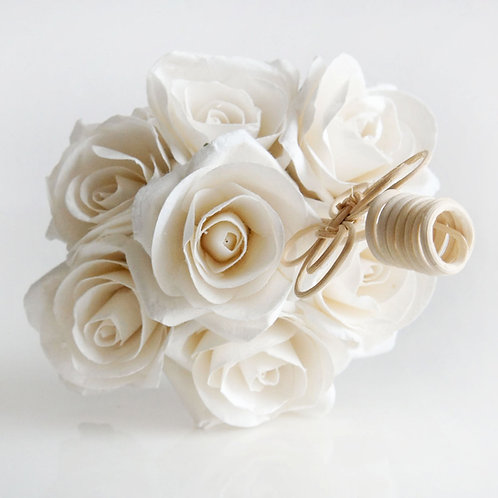 Medium White Rose Mulberry Paper Home  Fragrance  Diffuser Bouquet.