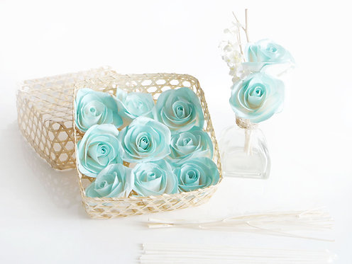 DIY Set of 9 Turquoise Roses Mulberry Paper  Diffuser.