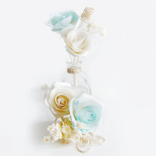 2 Set of Turquoise and White Rose Mulberry Paper  Diffuser .(2 sets)