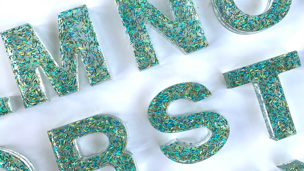 BLUE/GREEN SPARKLE RESIN LETTERS