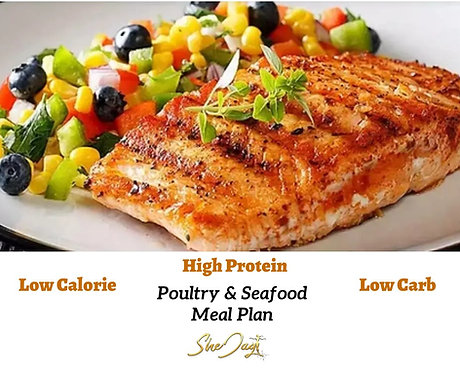 7 Day High Protein Poultry & Seafood Meal Plan Plus Bonus Grocery List