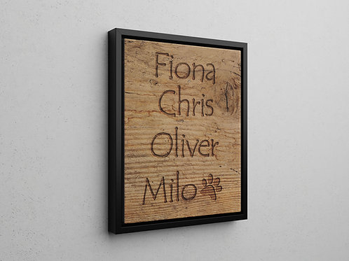 floating frame canvas print with a printed wood effect