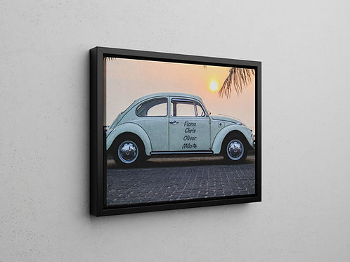 floating frame canvas print of beetle car - 400mm by 500mm