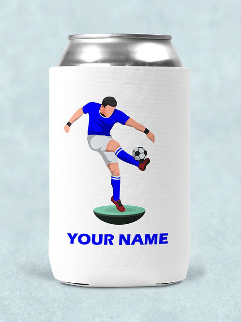 4 football themed printed can coolers with your name and team colours
