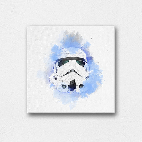 stormtrooper helmet digital canvas art with back stand - 200mm by 200mm