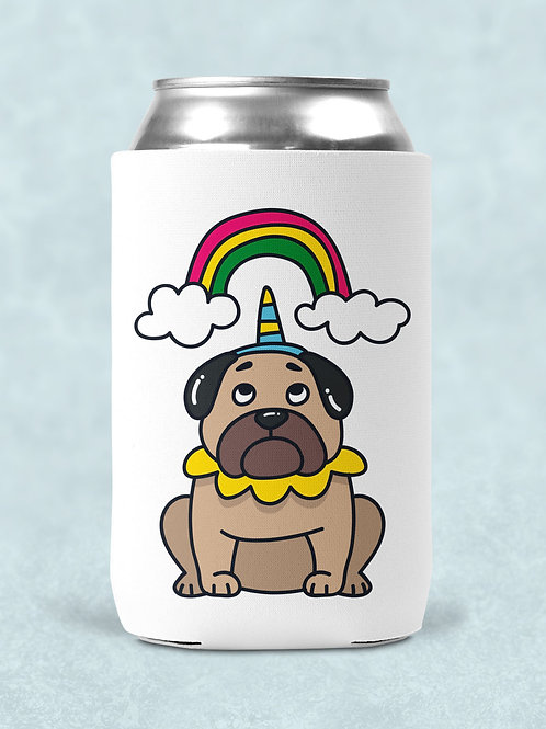 4 pug themed printed can coolers