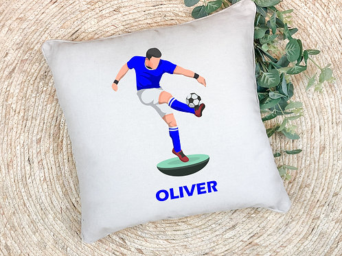personalised football themed printed pillow