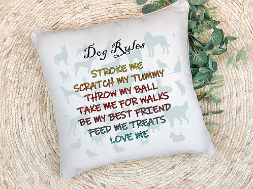 dog rules themed printed pillow