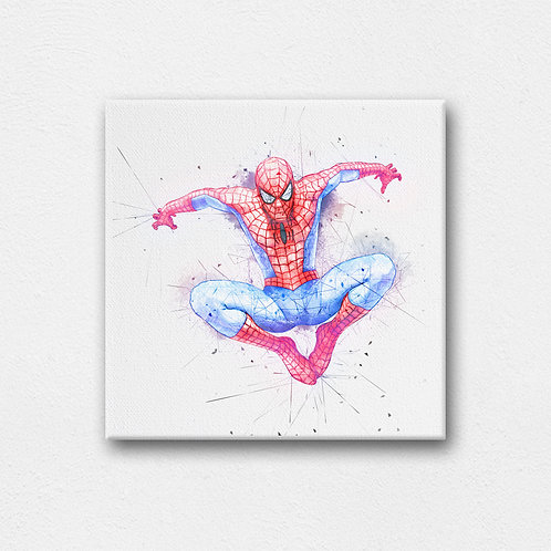 spider man digital canvas art with back stand - 200mm by 200mm