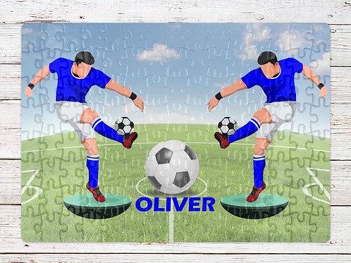 A4 120 piece jigsaw with customisable name and team colours