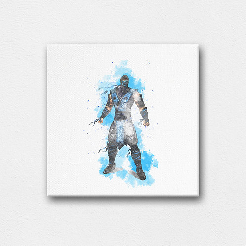 mortal kombats sub zero digital canvas art with back stand - 200mm by 200mm