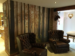 living room wall mural forest lounge