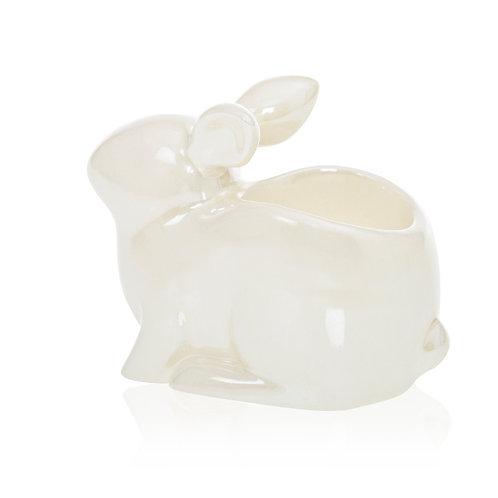 Porta tealight coniglio - PEARLESCENT CRACKLE