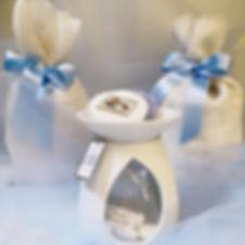 yankee, candle, bruciatore, bomboniere, fiocco, sacchetto, battesimo, nascita,