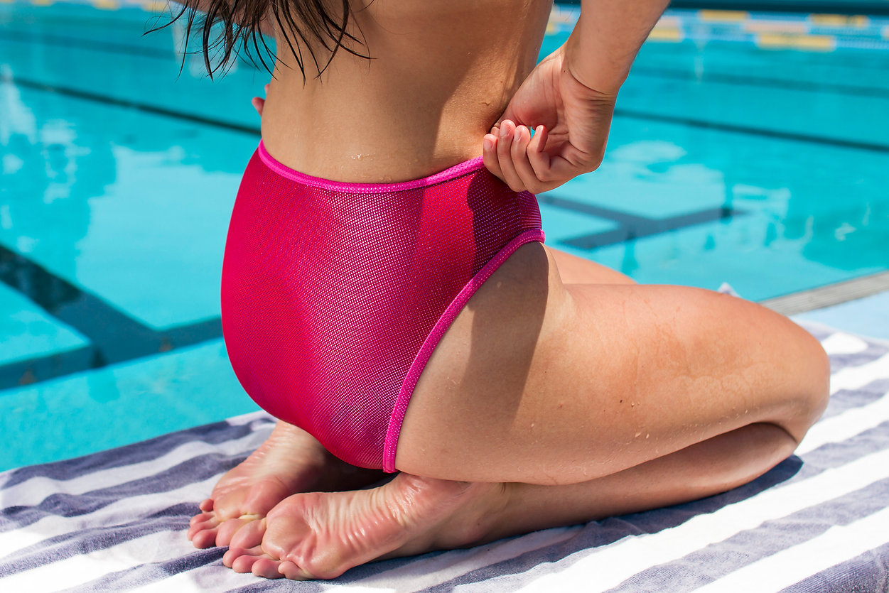 vintage pink mermaid swimsuit poolside lookbook