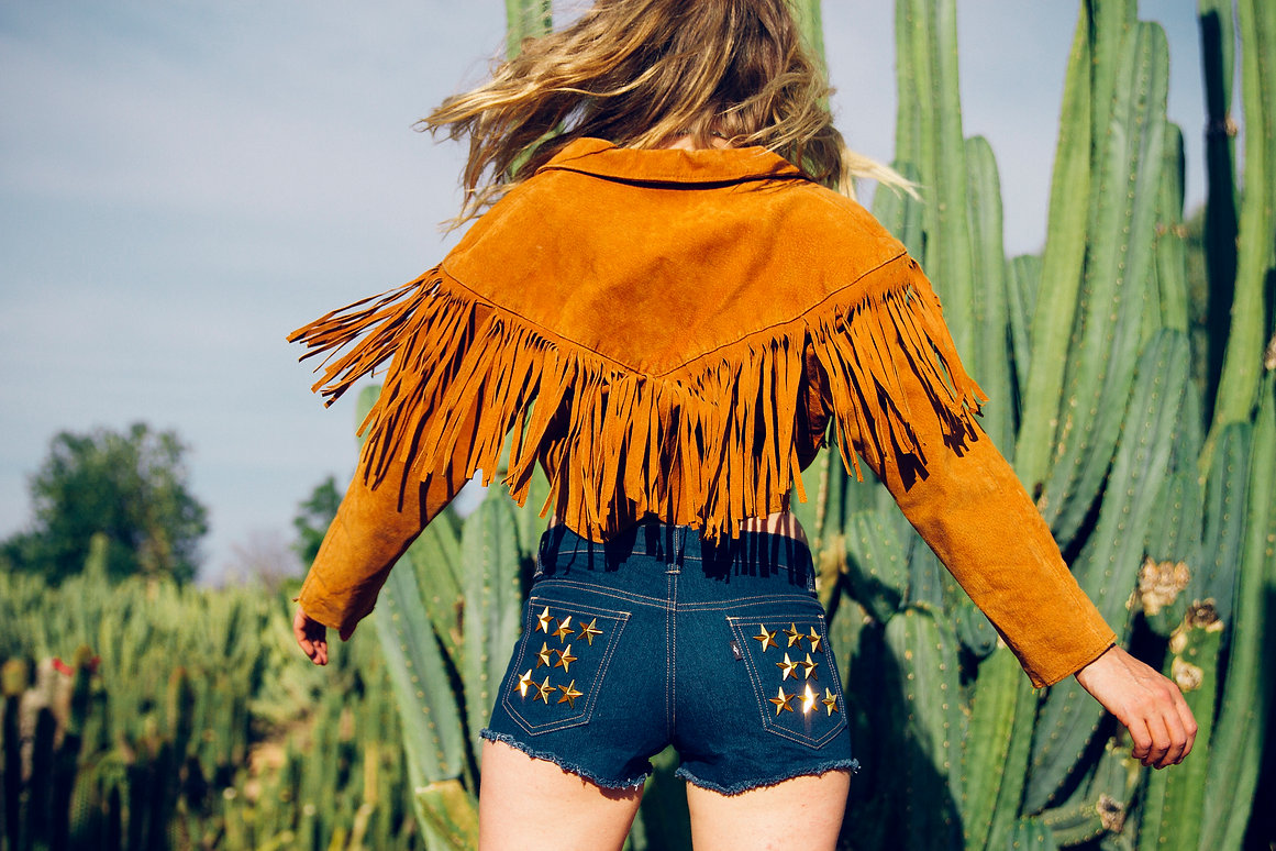 cowgirl, lucky star, fringe, leather jacket, western, stars, fashion, suede
