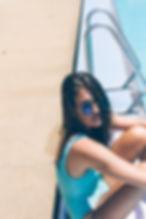 poolside vintage aqua swimwear