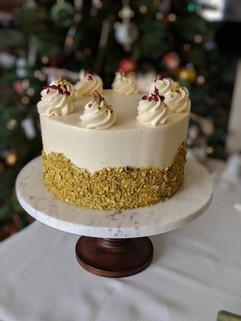 Pistachio Cake | White Chocolate Ganache | Cranberry Compote