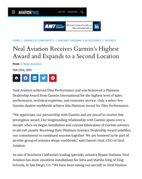 AviationPros Article on Neal Aviation Expansion