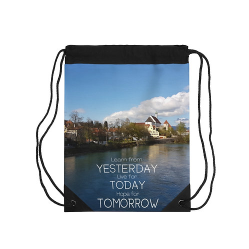 Fussen Drawstring Bag with Inspirational Quote