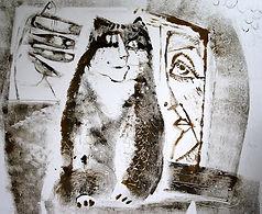 Продается монотипия кот и старуха