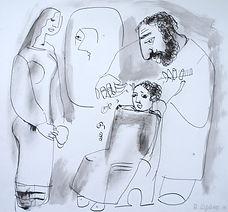 рисунок ручкой и карандашом - парикмахер стрижет ребенка