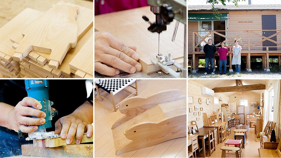 木育工房の外観写真、ショップ写真、製作の様子