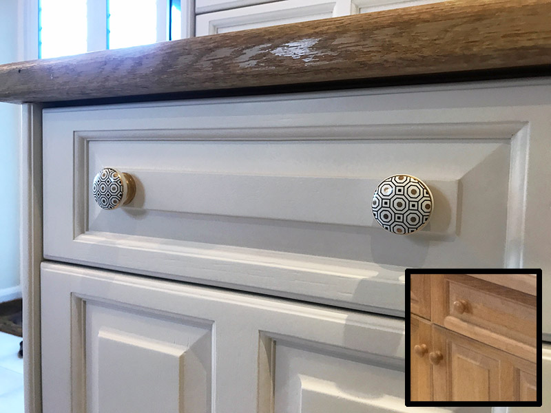 Little Greene Hollyhock painted kitchen with a handle change