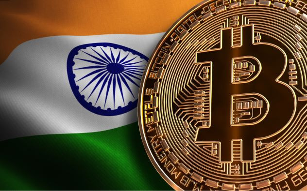A Bitcoin unit against the national flag of India by Matthew Feargrieve