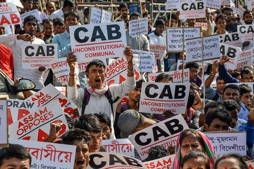 Demonstrators in India protest against the Citizenship Amendment Bill