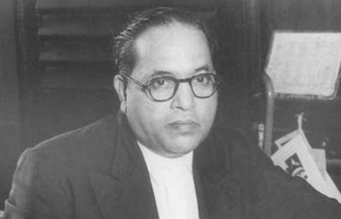 RB Ambedkar sitting in his office in Delhi, India