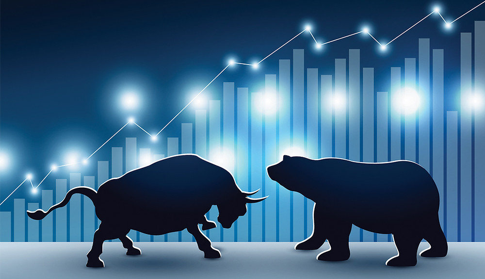 A stock market bull and bear against a market chart by Matthew Feargrieve investment management consultant