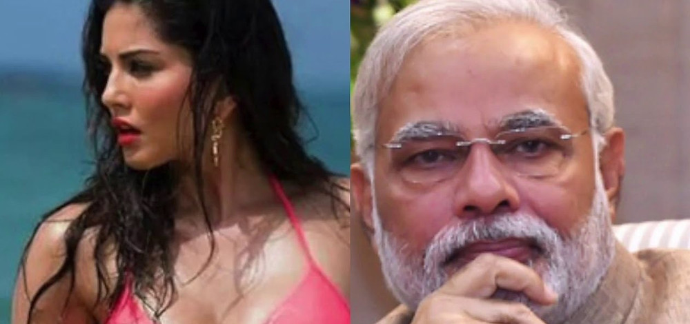 Sexy Bollywood actress Sunny Leone meets Prime Minister Narendra Modi of India