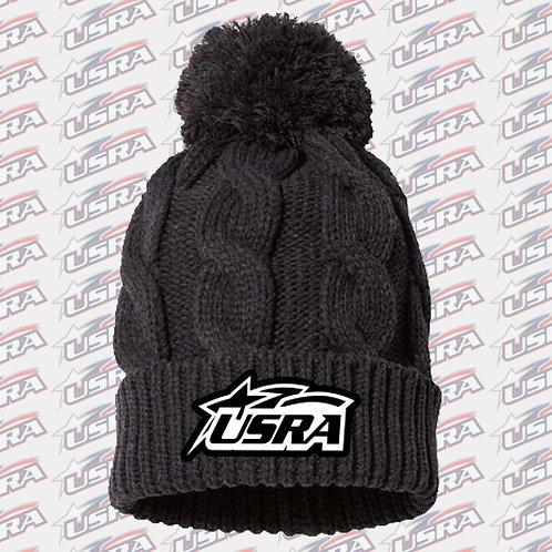 USRA Knit Cuffed Beanie Hat w/Pom