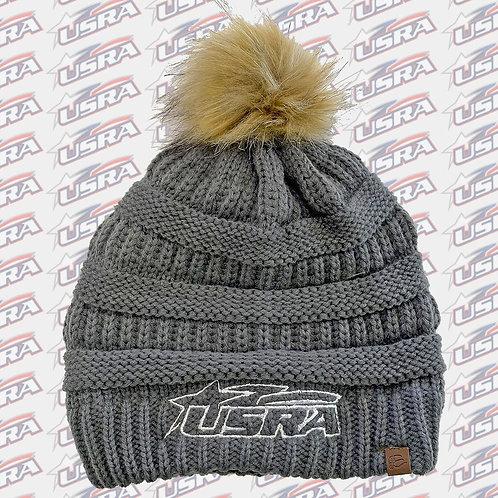 USRA Knit Beanie Hat w/Pom