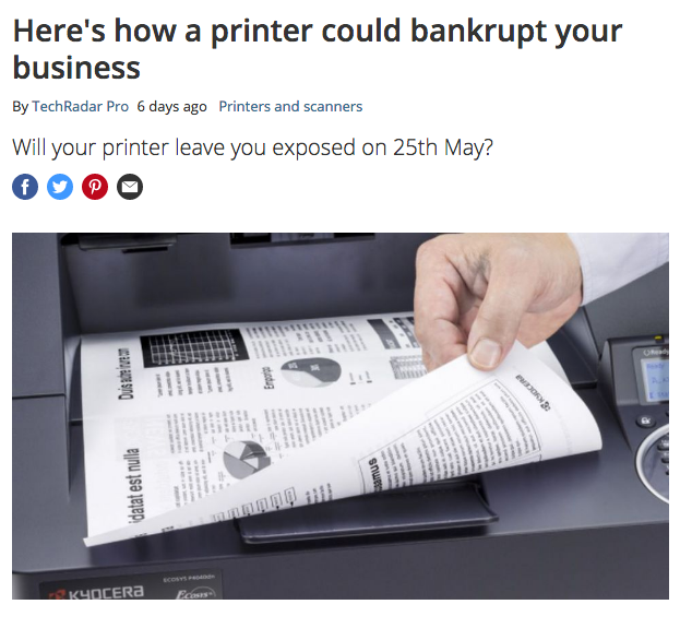 "Screenshot of an article from an online technical magazine with the title ""your printer could bankrupt your business"""