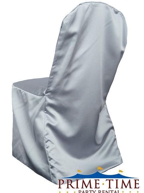 Matte Satin Silver Banquet Chair Cover