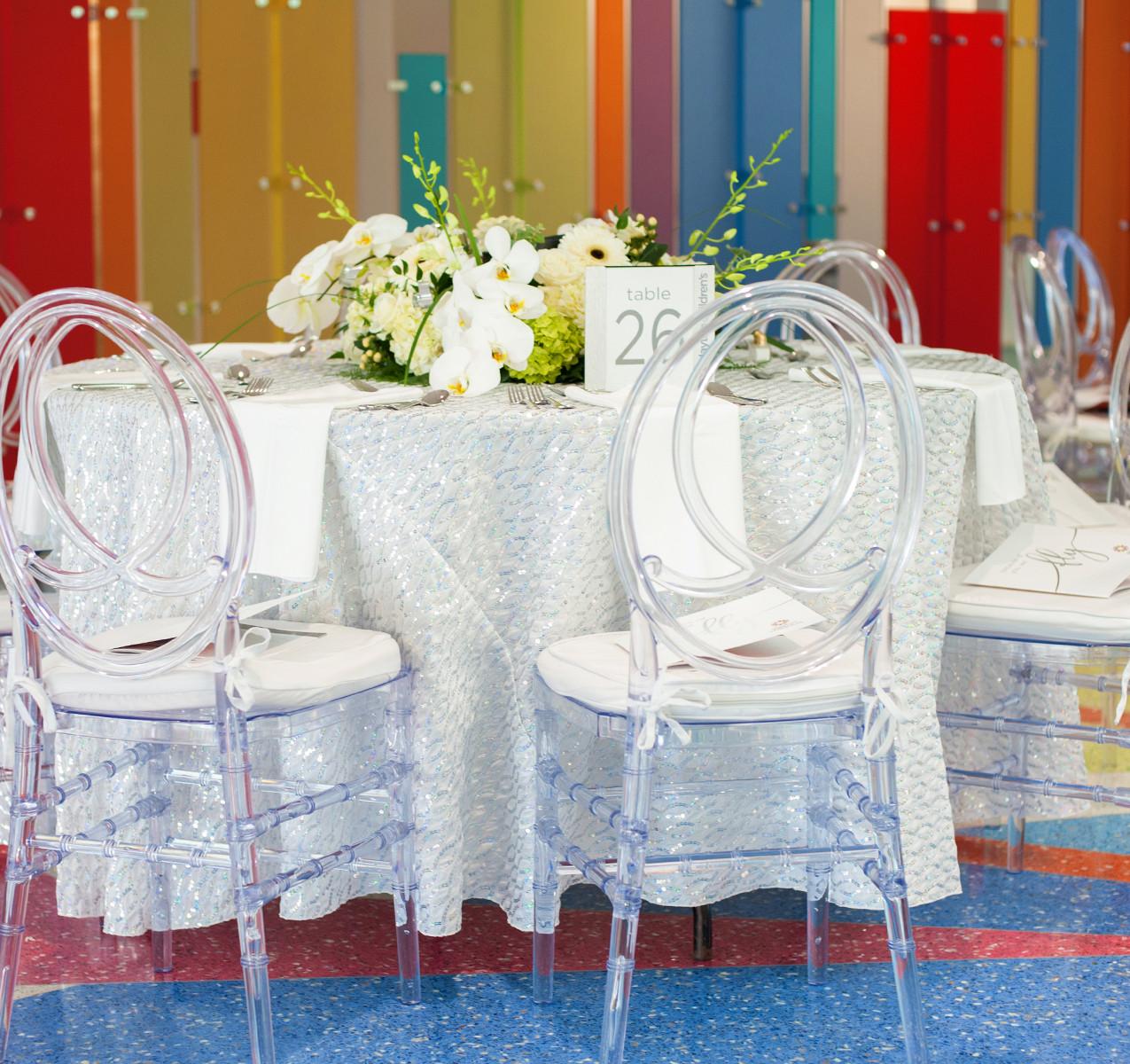 Clear phoenix ghost chair fundraising event decor rental Dayton Cincinnati Ohio 001