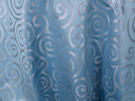 Metallic Scroll Blue & Silver Linens