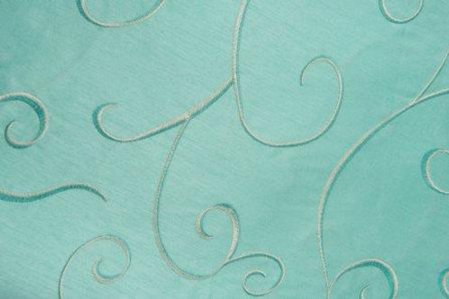 Supernova Shantung Tiffany Blue Swirl Linen