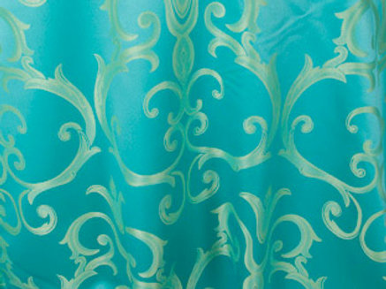 Chopin Turquoise with Gold Damask Pattern