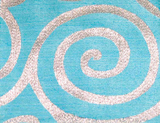 Metallic Scroll Turquoise & Silver Linens