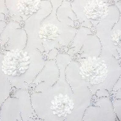 Kaly Carnation White Sheer Linen
